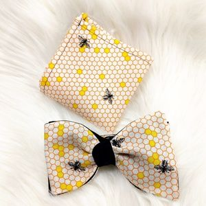 Bees Bowtie and Pocket Square combo
